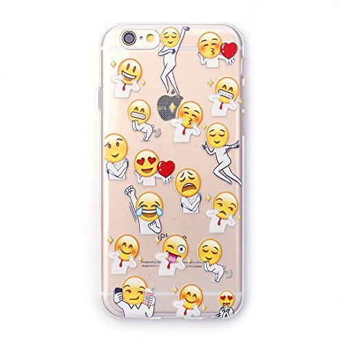 "iProtect TPU Schutzhülle Apple iPhone 6 6s (4,7"") Soft Case - flexible Hülle in transparent Avocado Design Popular Emojis Männchen"
