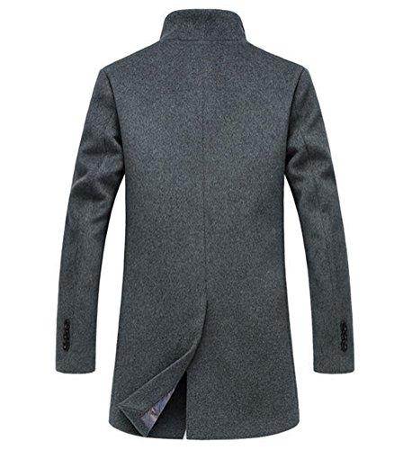 Brinny Herren Wollmantel Überzieher Schlank Lange Windbreaker Jacken 4 Farbe: Schwarz/Grau/Khaki/Rotwein Grau