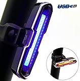 DONPEREGRINO LED Luce Bici Potente Rosso Blu Impermeabile & USB Ricaricabile, Luce Zaino Luce Casco Fanale Posteriore Bicicletta 36 COB Super Luminosa