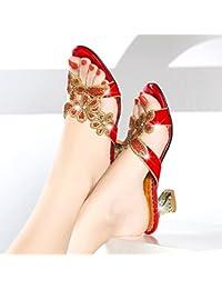 GTVERNH Zapatillas de mujer/Verano/Tacón Bajo Talón de Agua Taladro Zapatillas Cristal Diamante Sandalias de Tacón...