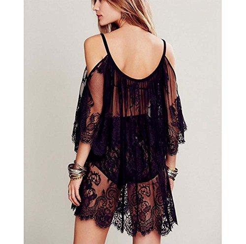 Camicetta sexy delle donne delle bretelle del vestito da sole della spalla Vestito sexy della camicetta (M, nero) Nero