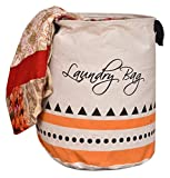 #5: Yellow Weaves Cotton Folding Round Laundry Bag - (16x14-inches, Beige)