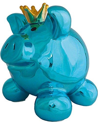 Royal Swiggie Metallic Blau Sparschwein Krönchen Krone Glücksschwein Spardose: Größe: klein