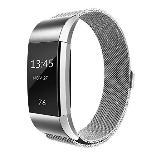 """Fitbit-Charge-2-Armband, Abeky-Austauscharmband, """"Milanese Loop""""-Metallarmband, Smart-Watch-Zubehör, hochwertiger Edelstahl mit kräftigem Magnetverschluss für Fitbit Charge 2 (klein/groß)"""