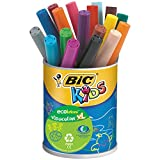 BIC Kids Visacolor XL ECOlutions Feutres de Coloriage à Pointe Large - Couleurs Assorties, Pot de 18