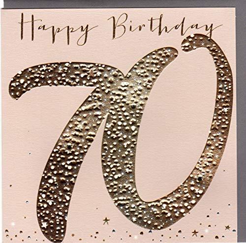 Belly Button Designs hochwertige Glückwunschkarte zum runden 70. Geburtstag aus der Paloma-Serie mit Prägung, Folie und Kristallen BB473 -