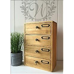 Cómoda de 4cajones Armario de madera organizador de almacenamiento (Home Office Tall unidad