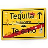 DankeDir! Te amo Tequila Kunststoff Schild, kleines persönliches Geschenk für sie - süße Deko, Wanddeko Schoko, Türschild Mädchen Wohnung/Zimmer, Geschenkidee Geburtstagsgeschenk Freundin, Party Deko