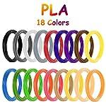 3D Printing Pen Filament PLA, Vibury 18 Colors 3D Pen Printing Material Refills 1.75mm 9.8 Feet per Color Total 177 Feet for Most Intelligent 3D Pen