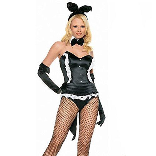TYERY Sexy Bunny-Kostüm,Schwarz,One (Für Arbeit Die Kostüm Bunny)