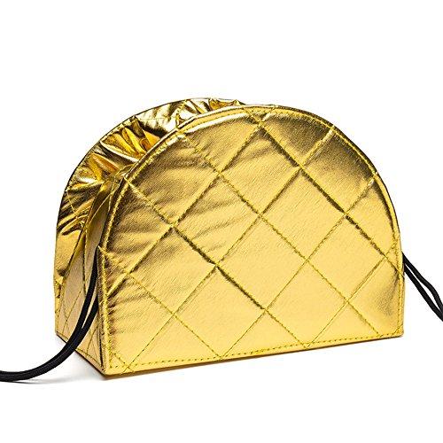 DCRYWRX Portable Drawstring Kosmetiktasche Multifunktionsspeicher Portable Large Capacity Faul Reise Make-Up Quick Pack Wasserdichte Reisetasche,Gold (Drucken Make-up Mini-handtasche)