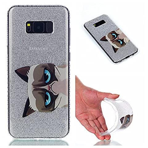 Coque Samsung Galaxy S8, Cozy Hut® [ Anti-Scratch] Ultra Mince Premium TPU silicone Case [Bling Crystal] ** Eclatant et Brillant ** Glitter Crystal Quartz / Bumper-Style / Anti-choc / Adherence exacte / Sans Encombrement Flexible / Coque Housse Etui TPU Silicone Clair pour Samsung Galaxy S8, Samsung Galaxy S8 coque - De grands yeux chat
