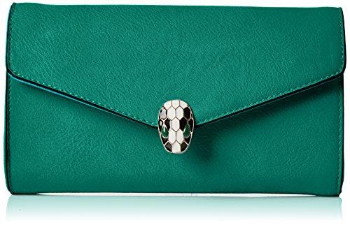 Swanky Swans - Bali Snakehead Leather Clutch, Pochette da giorno Donna Verde (Green)