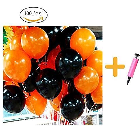 Halloween Ballons de baudruche noir et orange Latex nacré Ballons Noël Décoration de fête de mariage 100pcs 10