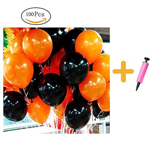 100 Stück Luftballons Halloween Deko Schwarz und Orange 10