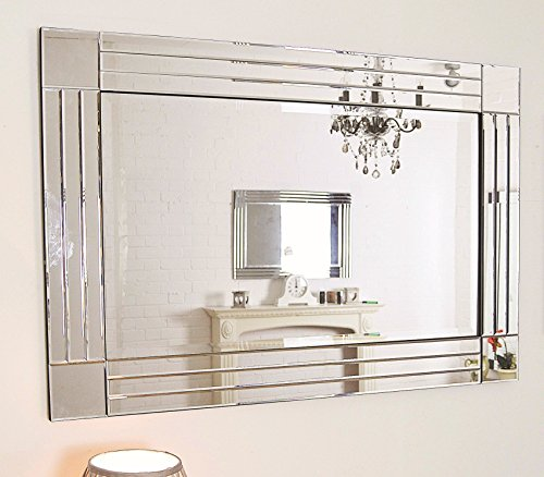 Modern Silver Bevelled Triple Edge Venetian Mirror 3ft11 X 2ft8 120cm 80cm