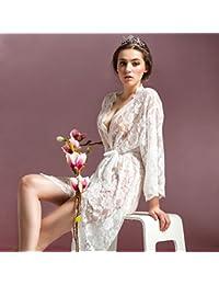 lpkone-Encaje blanco vestido de novia albornoz sexy lingerie girl tentación camisón transparente batas son código, blanco