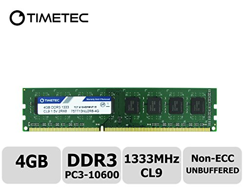 Timetec Hynix IC 4 GB DDR3 1333 MHz PC3-10600 Unbuffered Non-ECC 1,5 V CL9 1Rx8 Single Rank 240 Pin UDIMM Desktop RAM Module Upgrade (High Density 4 GB) -