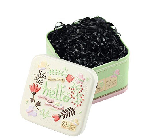 1Box (700pcs) Einweg Gummi band-hair Styling Tools Haar Pferdeschwanz Halter Elastic Hair Bands (mit einer Box) (Inhaber Schäden Pferdeschwanz)