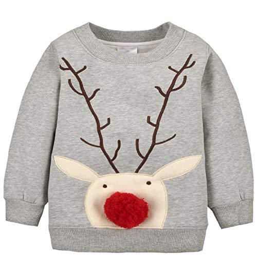 Baby Mädchen Jungen Fleecepullover Weihnachtspulli Kleinkinder Herbst Winter Verdickte Warm Langarm Pullover Sweatershirt Oberbekleidung Grau1 3 Jahre