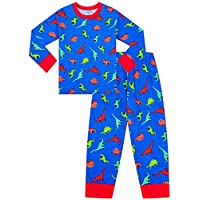 Boys T-Rex Dinosaur Long Pyjamas 2 to 7 Years Blue