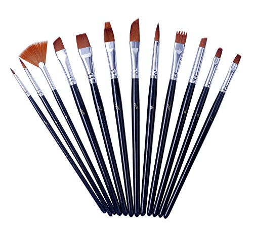 EXERZ EX-NUAB12-BLK 12PCS Conjunto De Pinceles De Artista De Nylon - Cepillos Mixtos Profesionales En Embalaje Económico. Perfecto Para Acuarela / Acrílico / Gouache / Aceite / Pintura De La Cara - Uso Múltiple.