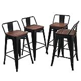 Lot de 4 tabourets de bar industriels en métal pour chaises de salle à manger 26' Black Wood Low Back