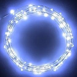 BUYERTIME 3M/10Ft 30 LEDs Cadena de Luces Impermeable Flexible de Alambre de Plata con Caja de Batería AA(Batería No Incluye) para Iluminación DIY, Navidad y Decoración Fiesta - Blanco Frío