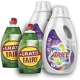 Ariel Flüssig Colour & Style Waschmittel 18 Waschladungen mit Gratis Fairy Original 450ml, 2er Pack (2 x 1.26l)
