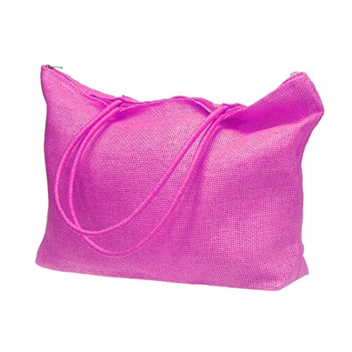 Vovotrade® Le donne di colore della caramella borsa da spiaggia a tracolla grande paglia (Bianco) rosa caldo