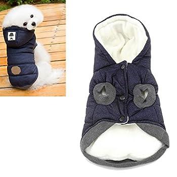 Kismaple Veste pour chien Manteau à capuche Animal de compagnie Encapuchonné vêtements Chaud pour petit Mittel Chiens Hiver Vêtements (M (Poitrine: 37cm, Cou: 26cm), Bleu)