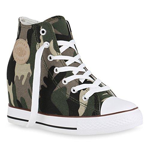 Damen Sneakers Stoff | Sneaker Wedges Blumen | Camouflage Sneaker Keilabsatz | Details Schuhe Zipper Denim Camouflage