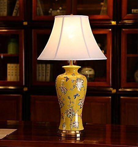 FDH Kreative Chinesische Geschnitzten Keramik Tischlampe, 66 * 38 * 16 cm, Peacock Blue