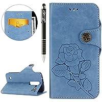 LG K7 Hülle,LG K7 Ledertasche Handyhülle Brieftasche im BookStyle,SainCat Schön Retro 3D Eine Rose Muster PU Leder... preisvergleich bei billige-tabletten.eu