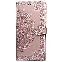 Oihxse Funda con Samsung Galaxy A40, Cuero PU Billetera Cierre Magnético Flip Libro Folio Tapa Carcasa Relieve Soporte Plegable Ranuras para Tarjetas Protección Caso(Oro Rosa)