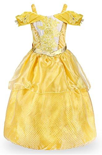 JerrisApparel Mädchen Kleider Prinzessin Belle Kleid Halloween Rose Blumen Kostüme (Gelb, 5-6 (Blumen Halloween Kostüm Mädchen)