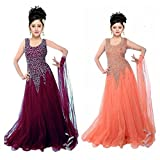 #5: Girl's Soft Net Embroidered Gown For Parties And Wedding,Traditional Wear Combo Pack