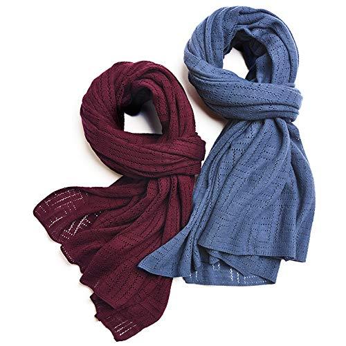 Easy Go Shopping New Damen Schal Warm Solid Color Atmungsaktiv Soft Wild Cutout Knit Lätzchen (Farbe : Weinrot, Größe : Einheitsgröße) Soft Knit Schal
