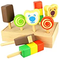 Santoys ST402 Wooden Play Food Ice Creams on Sticks (with Crate)