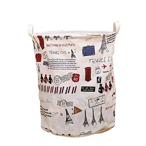 Nikgic Wäschekorb Baumwolle Folding Wäschekorb Wäschesack Ablagekorb LagerfässerHaushalt Gitter Wäscherei Storage Basket Einfach Wäscheeimer 35*40cm