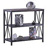 Aingoo Industrial Konsolentisch Rustikal Holz und Metall mit 3-Tiers Lagerregal ;Multifunktionale Bücherregal für den Eingang, Wohnzimmer, Schlafzimmer,Braun