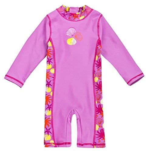Baby-Badebekleidung, langärmliger Einteiler mit UV-Schutz 50+ und Oeko-Tex 100 Zertifizierung in violett; Größe 62/68 Sonnenschutz Anzug Baby