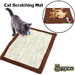 Homgrace Alfombrilla rascadora para gatos, rascador de gato para cama y sofá, 41.5 x 31.5 cm color marrón