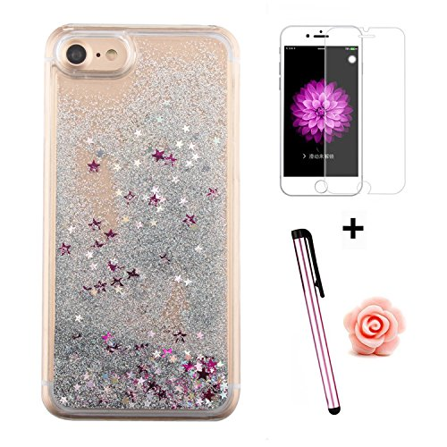 Custodia per iPhone 7 Case,Cover per iPhone 7,TOYYM - Love Heart Star Crystal Case Cover, Resistente Chiaro Trasparente [Bling Liquid] con divertente liquido flottante 3D con lussiosi glitter per iPho Color 1#