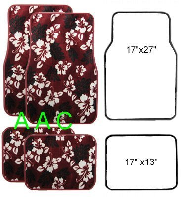 Red Hawaiian Hibiscus Carpet Front & Rear Car Truck Floor Mats by Unknown