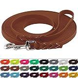 LENNIE BioThane Schleppleine 13 mm breit, 25 Farben/Hellbraun, 1-30 Meter / 5 m, Handschlaufe, geflochten