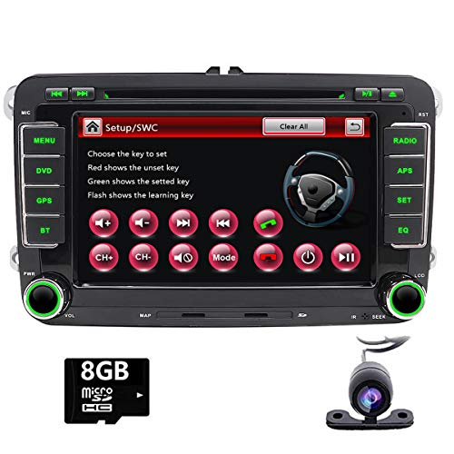 Foiioe unité de tête stéréo de Voiture pour VW Jetta Passat Touran Polo avec GPS Bluetooth Support CD DVD GPS USB SD AUX Caméra de recul iPod (Carte de 8 Go Gratuit Inclus + Gratuit Camera)