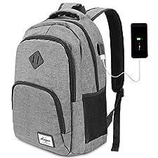 Unisex Rucksack für Herren und Damen-Multifunktional Daypack für Geschäft,Reisen,Business,Einkaufen,Camping,Schule,Tägliches Leben. USB-Anschluss-Design Mit integriertem USB-Ladegerät außen und integriertem Ladekabel im Inneren,bietet dieser USB-Ruck...