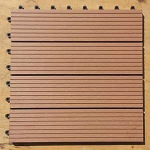 WPC Legno Piastrelle 30x 30cm terrazza piastrelle terrazza corridoio legno–Sistema a incastro per piastrelle WPC (Wood Plastic Composites) il cosiddetto plastica legno è la rivoluzione nel Outdoor materiali per balcone, terrazza e giardino