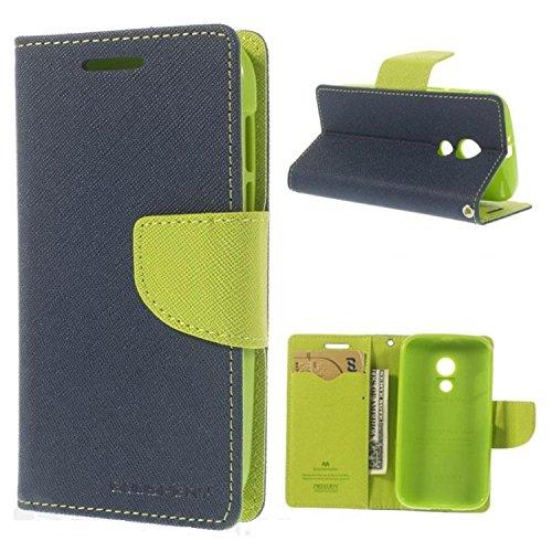 Mercury Goospery Flip Wallet Case Cover for Moto G2 (2nd Gen) - Blue/Green